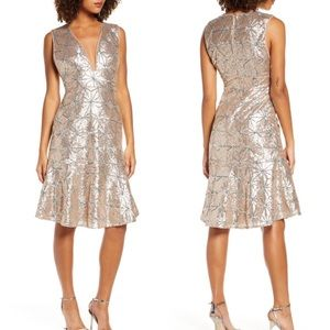 Anthropology Sequin Cocktail CHAMPAGNE Dress